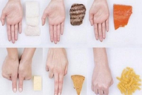 Dosare il cibo con le mani e peso forma
