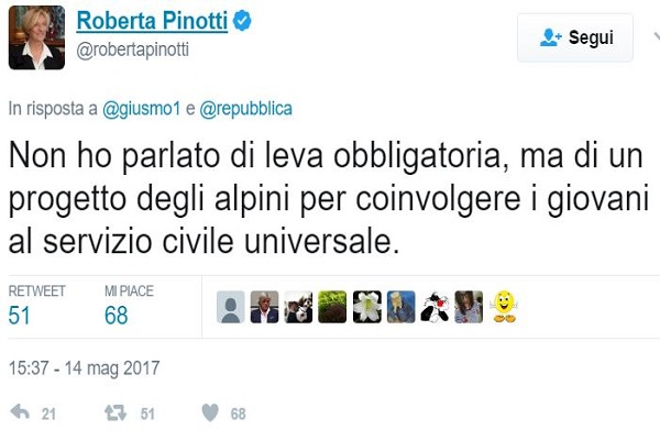 roberta-pinotti servizio civile obbligatorio alpini Treviso