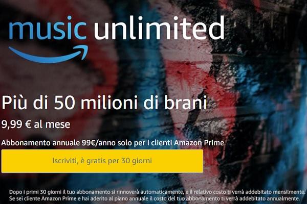 Amazon Music Unlimited - Iscrizione e prova gratuita
