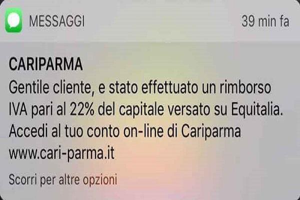 Cariparma Rimborso IVA Equitalia Truffa SMS come difendersi
