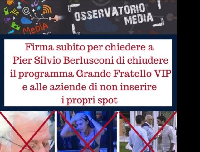 Grande Fratello VIP 2 petizione online Moige chiusura anticipata
