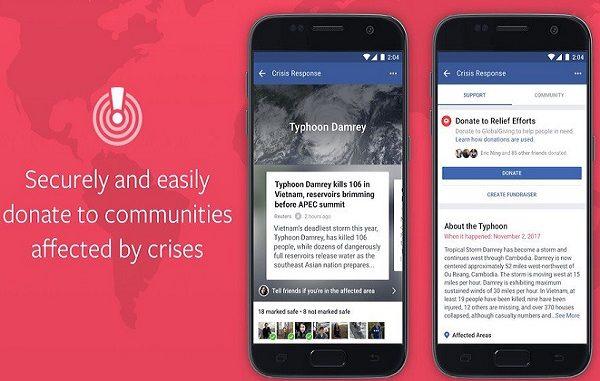 Disastri naturali, Facebook attiva il pulsante per le donazioni di denaro