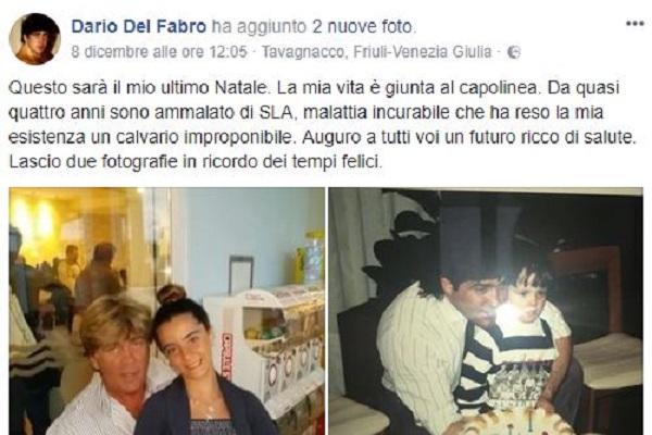 Dario Del Fabro malato di Sla: giudici negano le cure sperimentali
