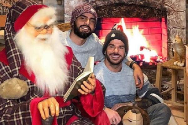 Claudio Sona Instagram: foto con Mario Serpa e Babbo Natale