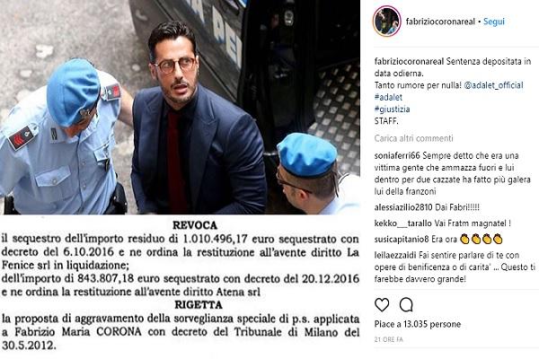 Processo Fabrizio Corona: restituiti i soldi sequestrati