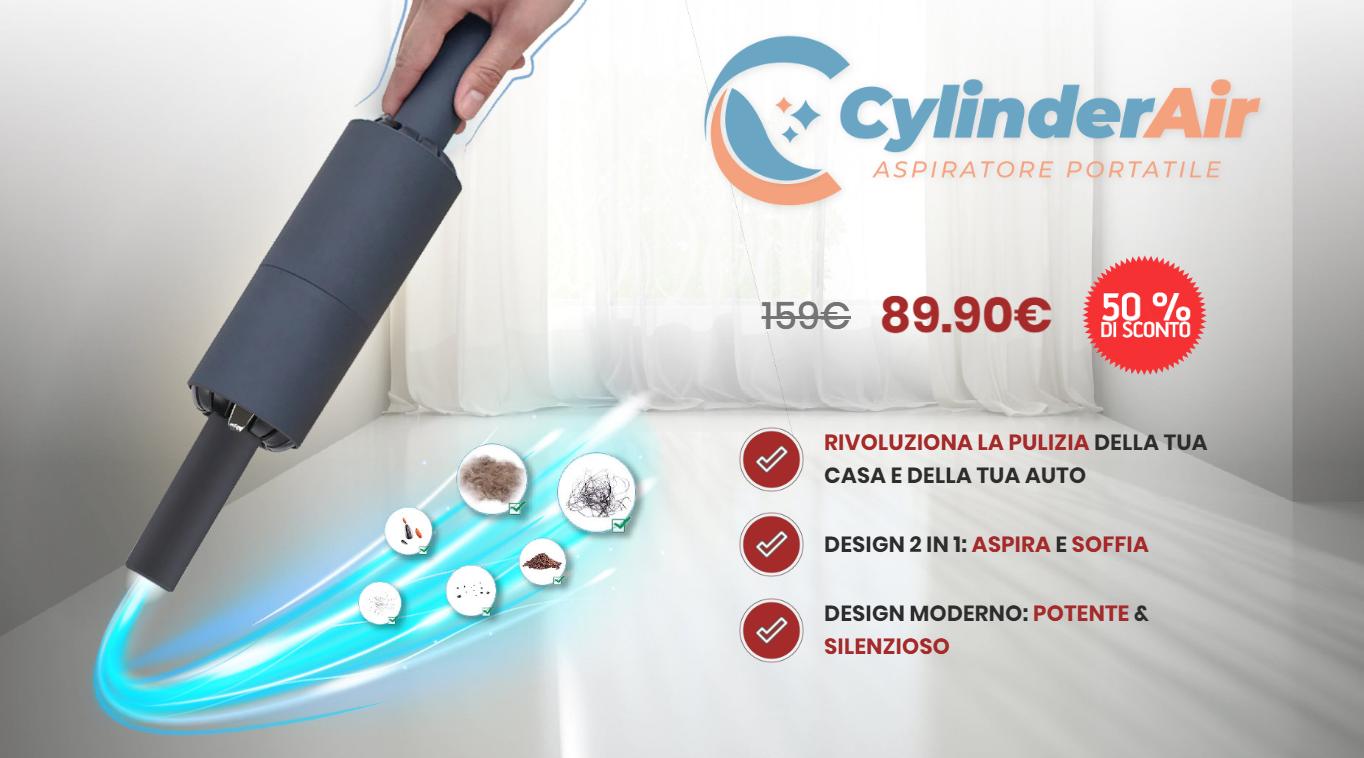 CylinderAir aspirapolvere portatile senza fili 2 in 1 funziona? Dove comprarlo, caratteristiche, aspira e soffia